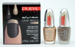 Pupa Nail Art Mania Luxury French zestaw do manicure 005 Matt Brown & Mirror Gold 2 x 5 ml